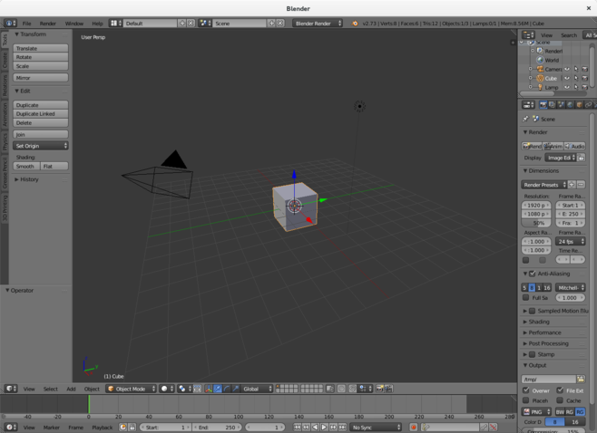 Blender's default scene