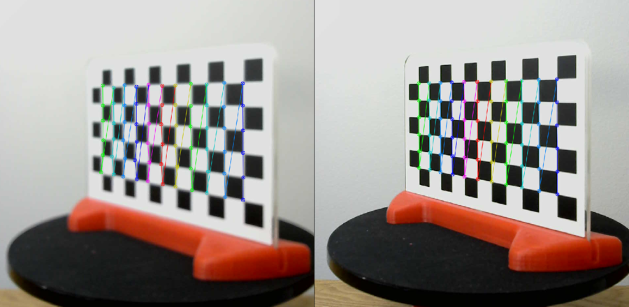 Left: Blurry, out of focus.  Right: After adjustment it is clear and sharp